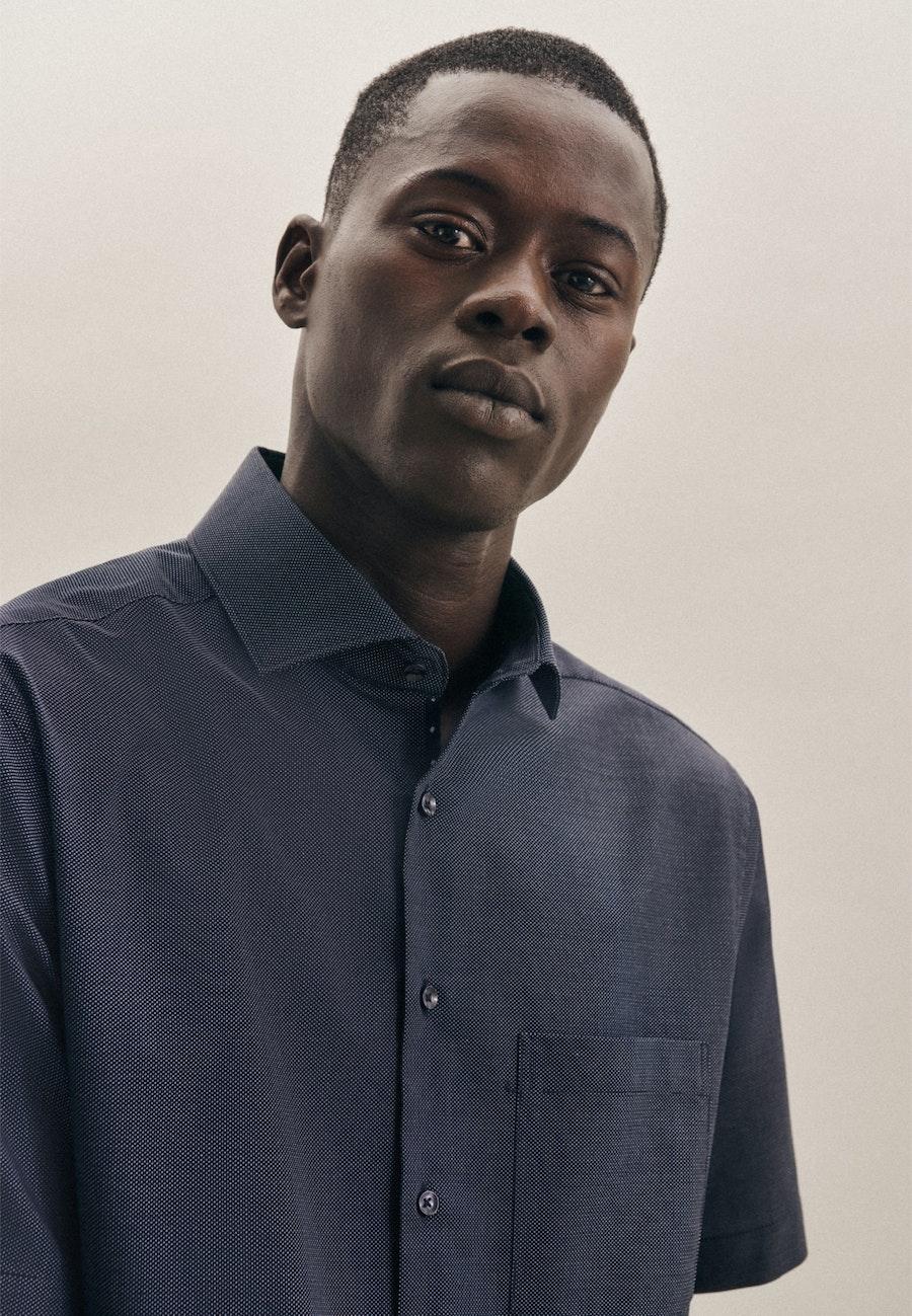 Non-iron Dobby Short sleeve Business Shirt in Regular with Kent-Collar in Dark blue |  Seidensticker Onlineshop