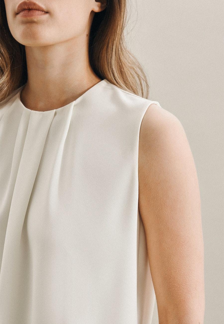 Ärmellose Krepp Shirtbluse aus 100% Polyester in Ecru |  Seidensticker Onlineshop