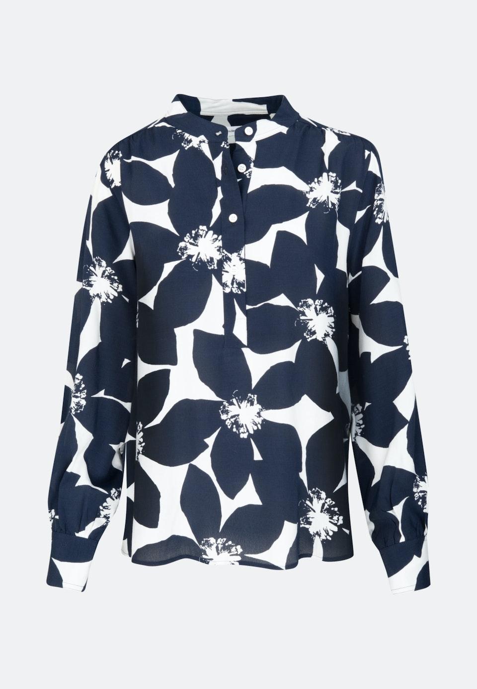Krepp Stand-Up Blouse made of 100% Viscose in Dark blue |  Seidensticker Onlineshop