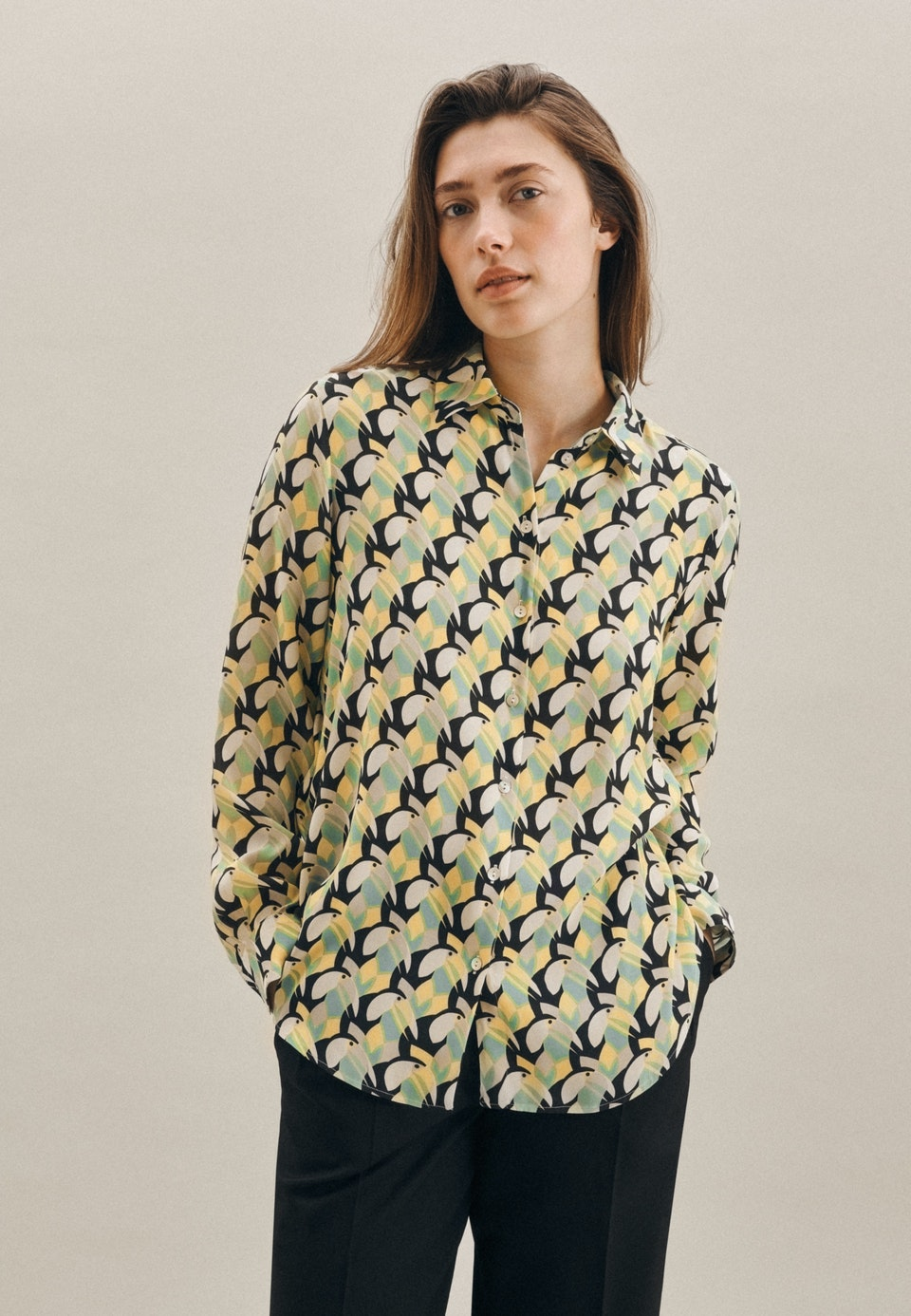 Popeline Shirt Blouse made of 100% Viscose in Yellow |  Seidensticker Onlineshop