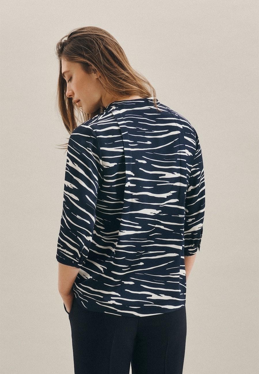 3/4 sleeve Satin Stand-Up Blouse aus 100% Viscose in Dark blue |  Seidensticker Onlineshop