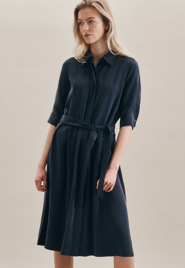 Popeline Midi Dress made of 100% Tencel in Dark blue |  Seidensticker Onlineshop