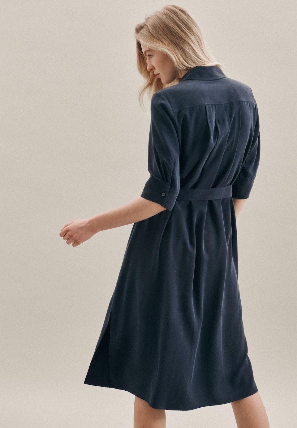 Popeline Midi Kleid aus 100% Tencel in Dunkelblau |  Seidensticker Onlineshop