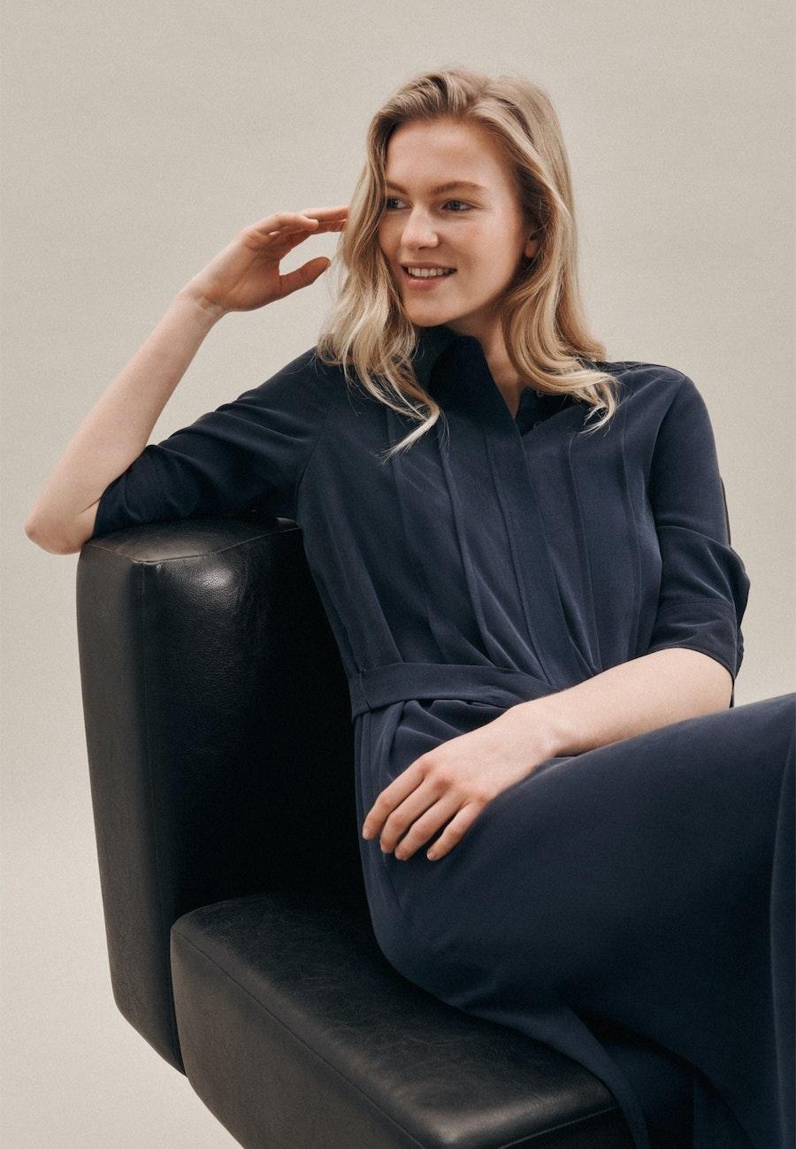 Popeline Midi Dress made of 100% Tencel in Dark blue |  Seidensticker Onlineshop