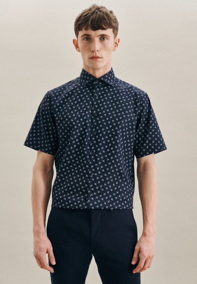 Easy-iron Oxford Short sleeve Business Shirt in Regular with Kent-Collar in Dark blue |  Seidensticker Onlineshop