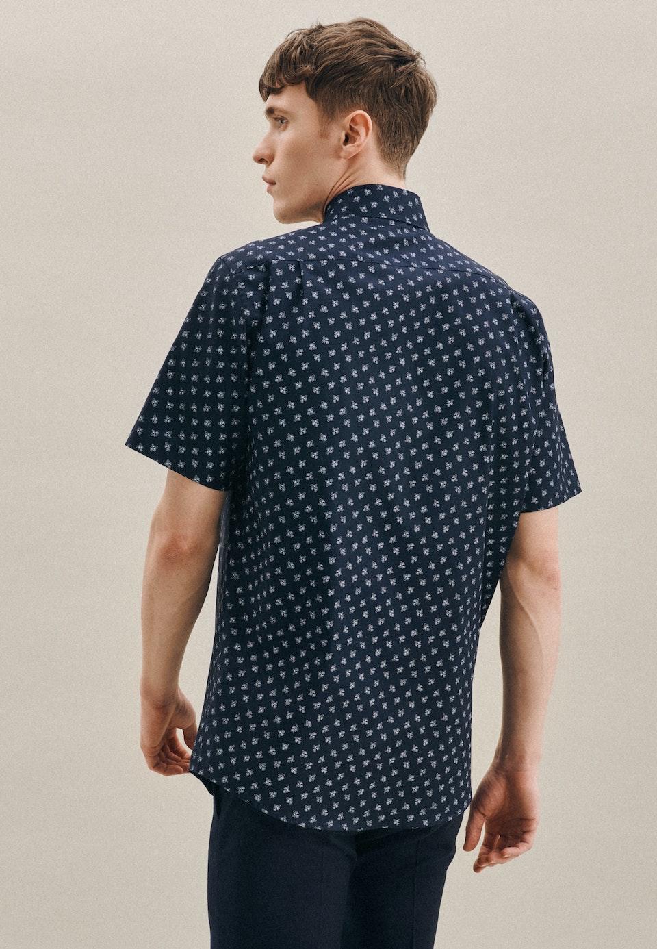 Bügelleichtes Oxford Kurzarm Business Hemd in Regular mit Kentkragen in Dunkelblau |  Seidensticker Onlineshop