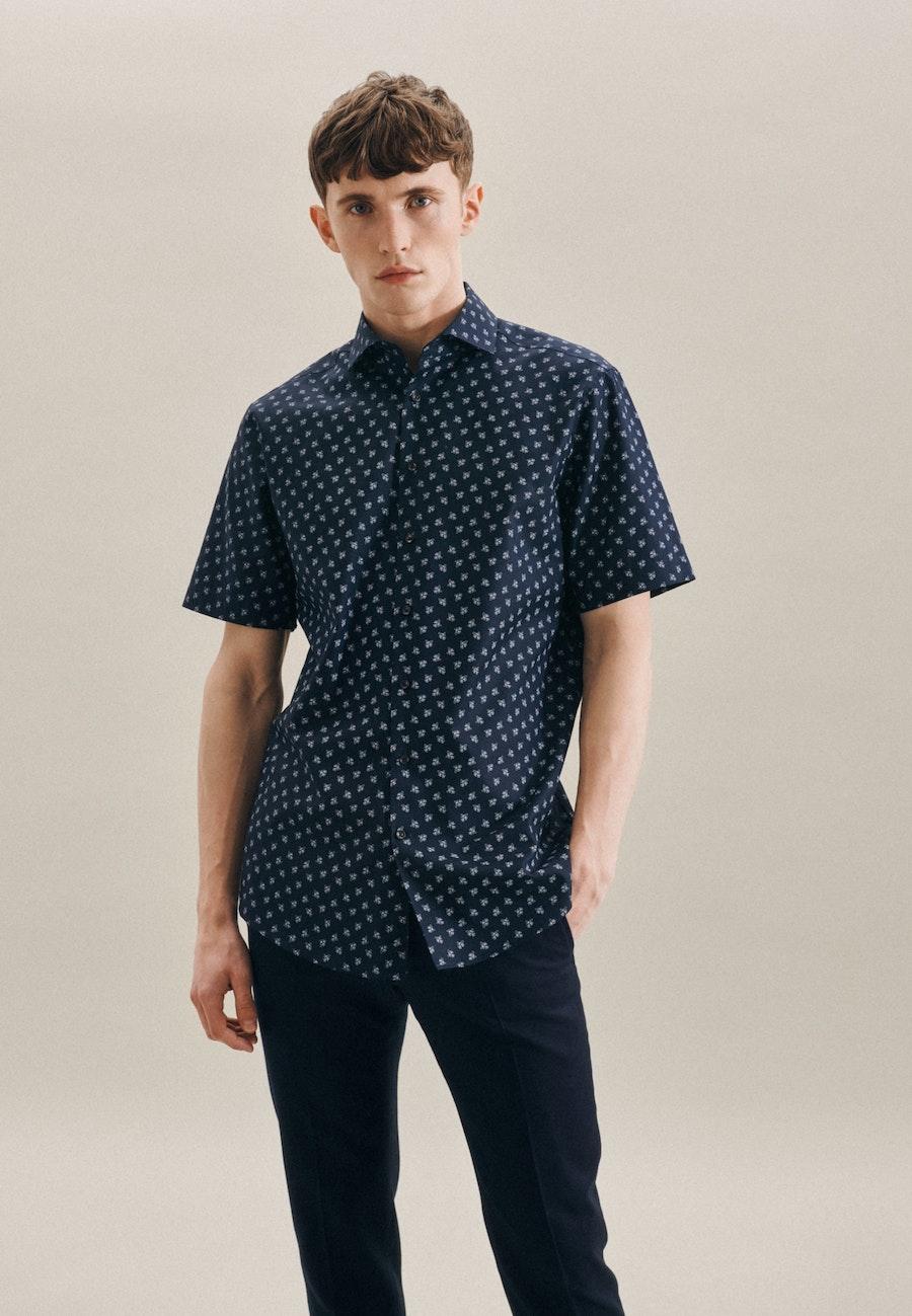 Easy-iron Oxford Short sleeve Business Shirt in Regular with Kent-Collar in Dark blue |  Seidensticker Onlineshop