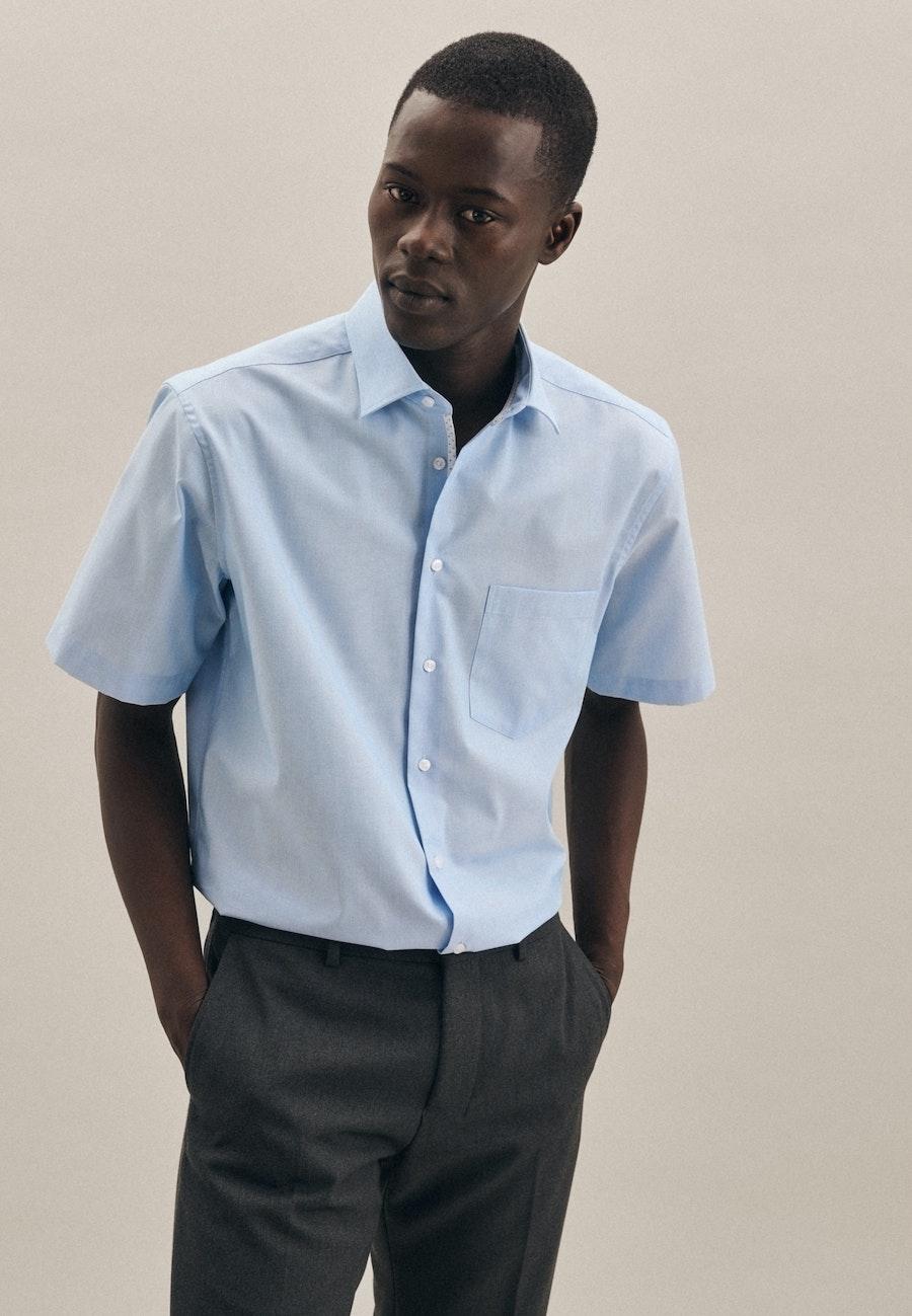 Bügelfreies Mille Rayé Kurzarm Business Hemd in Regular mit Kentkragen in Türkis/Petrol    Seidensticker Onlineshop