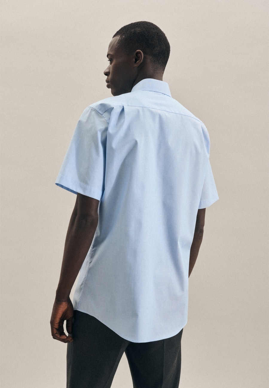 Non-iron Mille Rayé Short sleeve Business Shirt in Regular with Kent-Collar in Turquoise    Seidensticker Onlineshop
