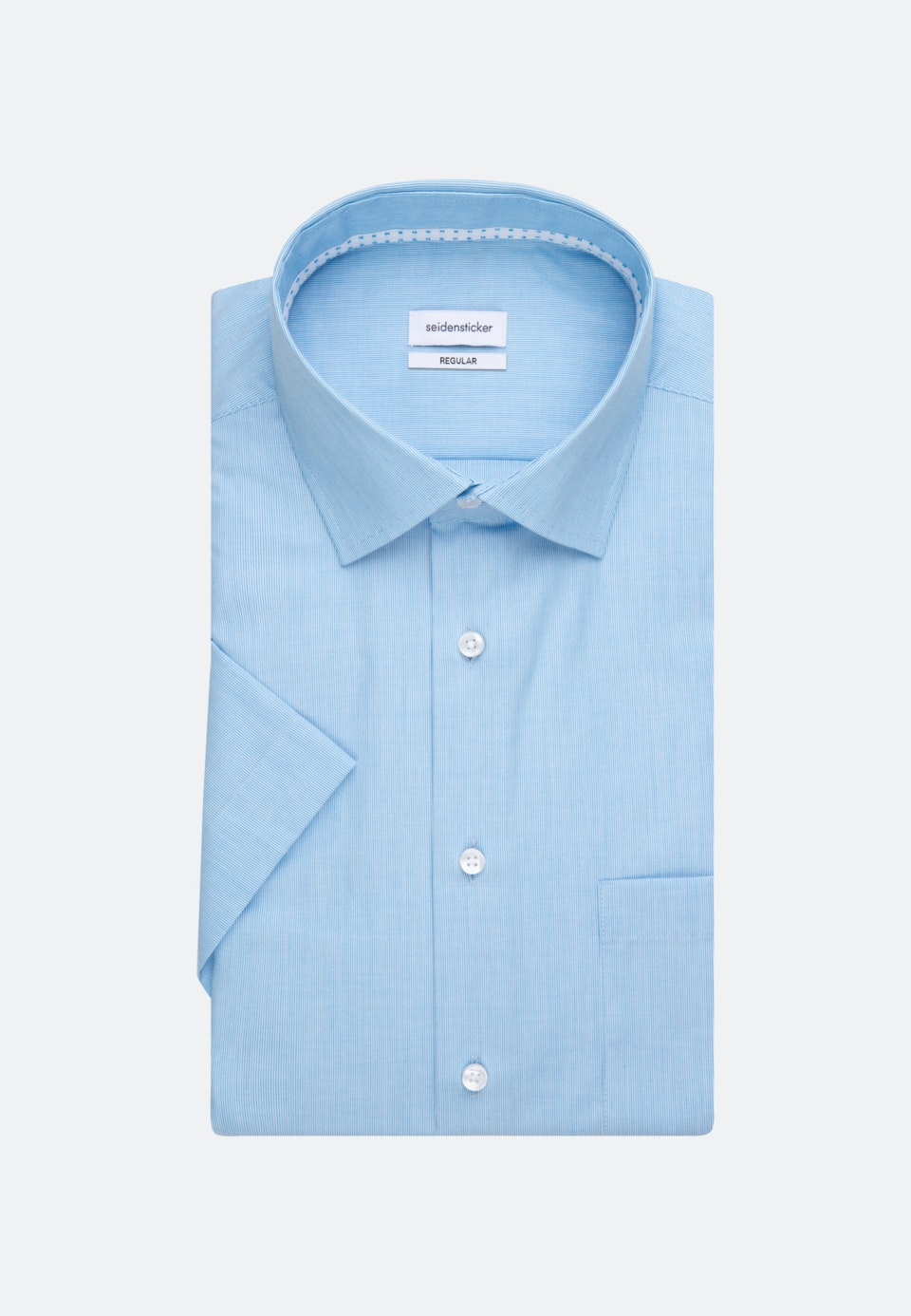 Non-iron Mille Rayé Short sleeve Business Shirt in Regular with Kent-Collar in Turquoise |  Seidensticker Onlineshop