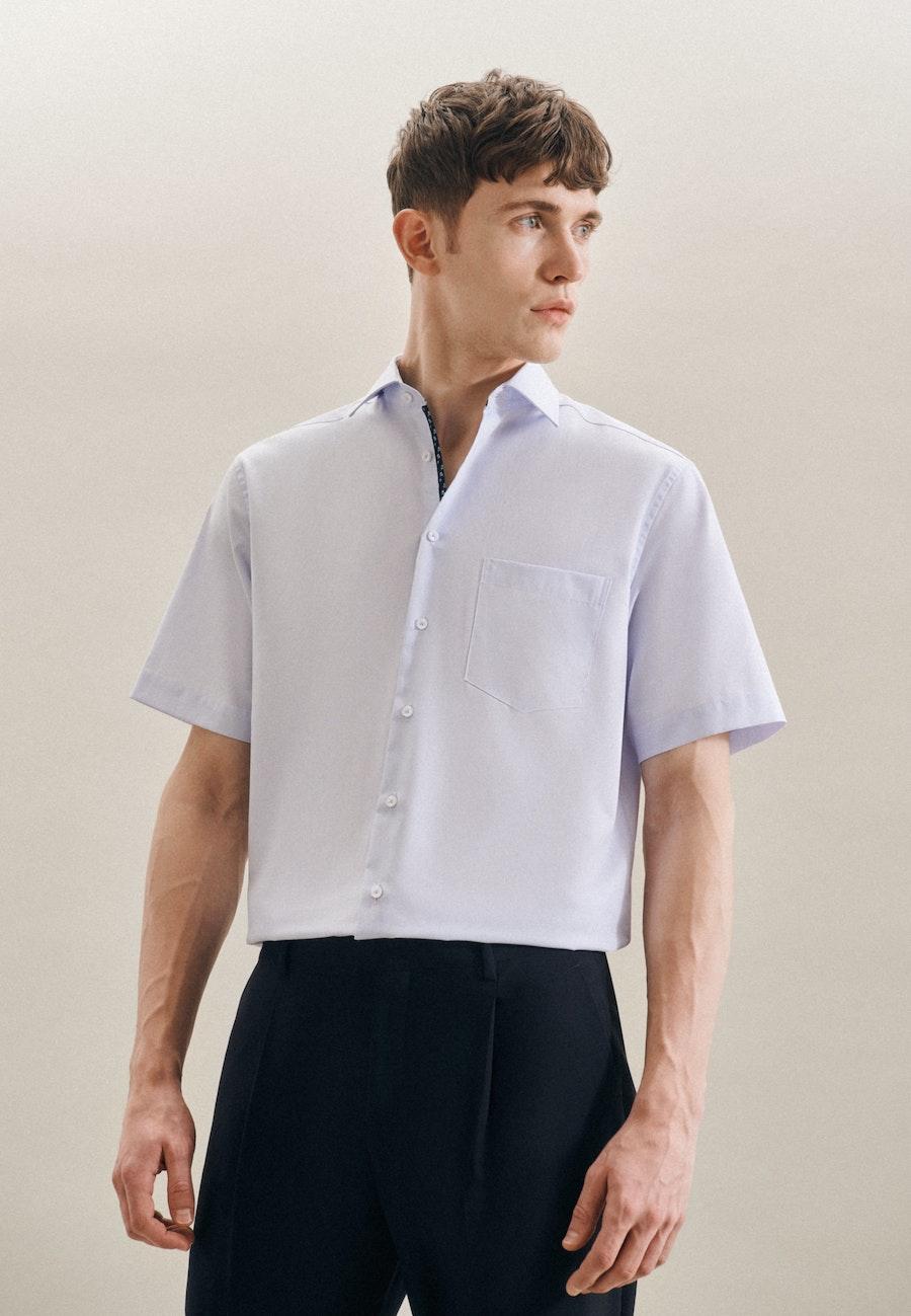 Bügelfreies Mille Rayé Kurzarm Business Hemd in Regular mit Kentkragen in Hellblau |  Seidensticker Onlineshop