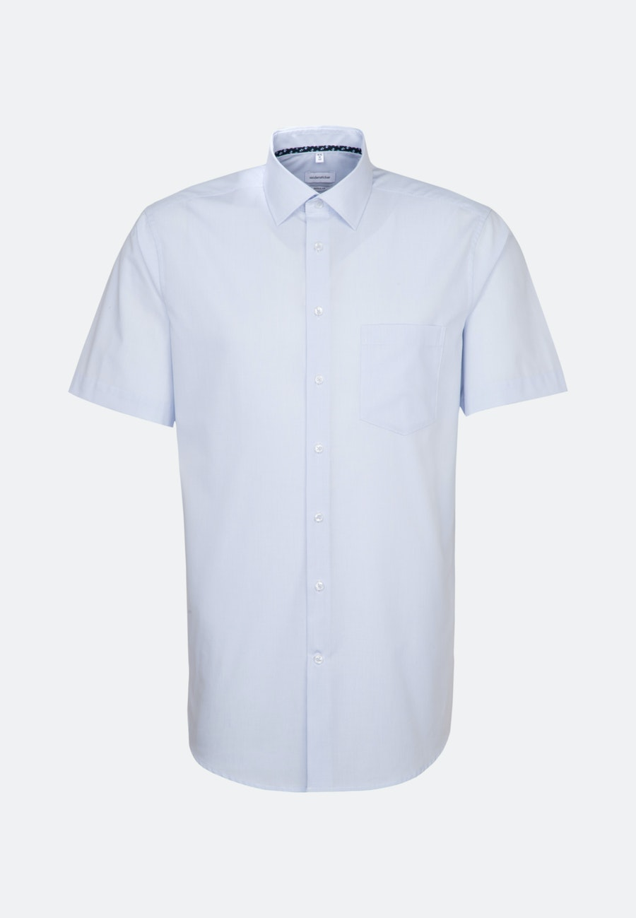 Non-iron Mille Rayé Short sleeve Business Shirt in Regular with Kent-Collar in Light blue |  Seidensticker Onlineshop