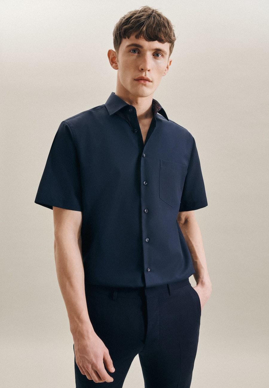 Bügelfreies Popeline Kurzarm Business Hemd in Regular mit Kentkragen in Dunkelblau    Seidensticker Onlineshop