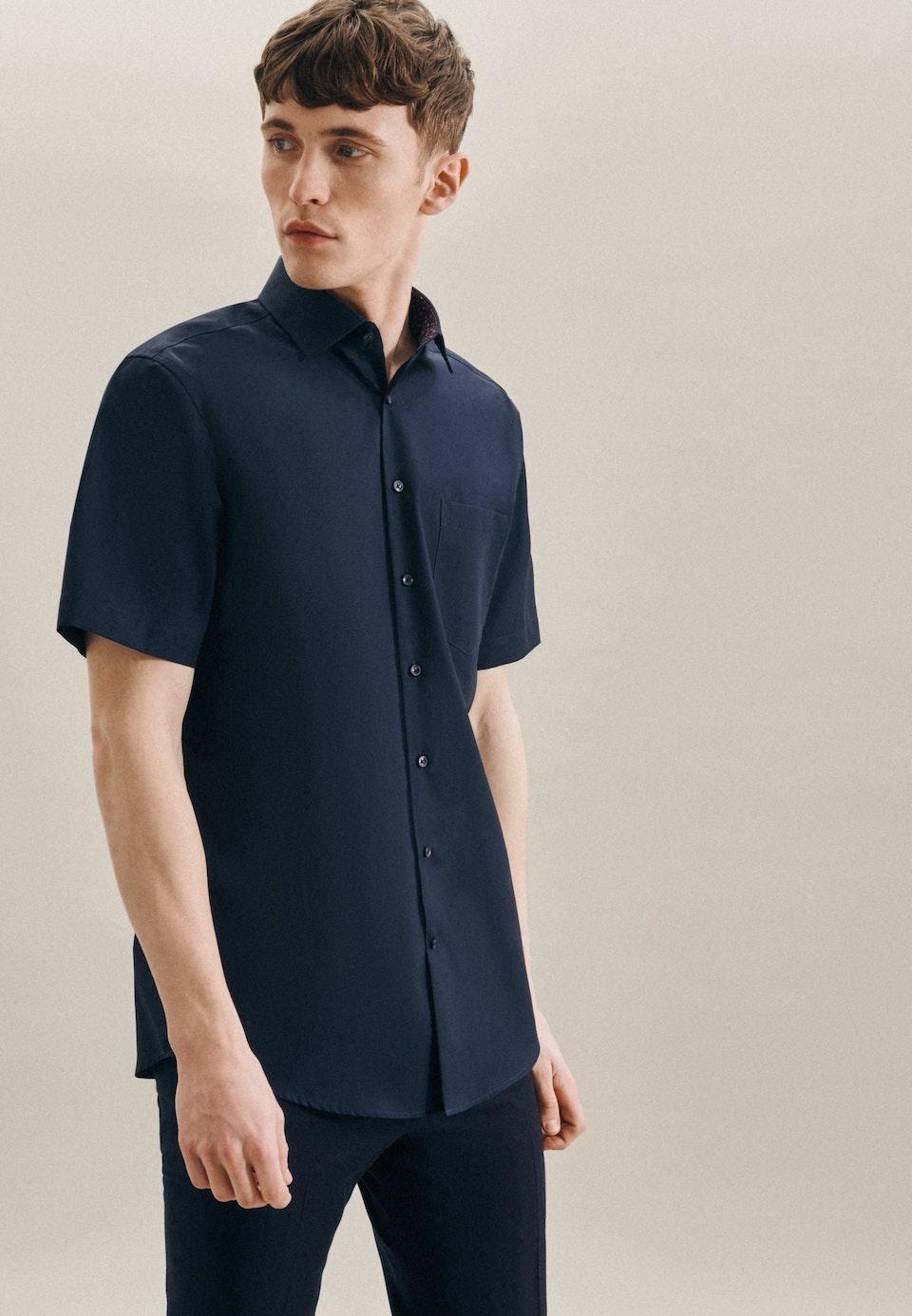 Non-iron Popeline Short sleeve Business Shirt in Regular with Kent-Collar in Dark blue    Seidensticker Onlineshop