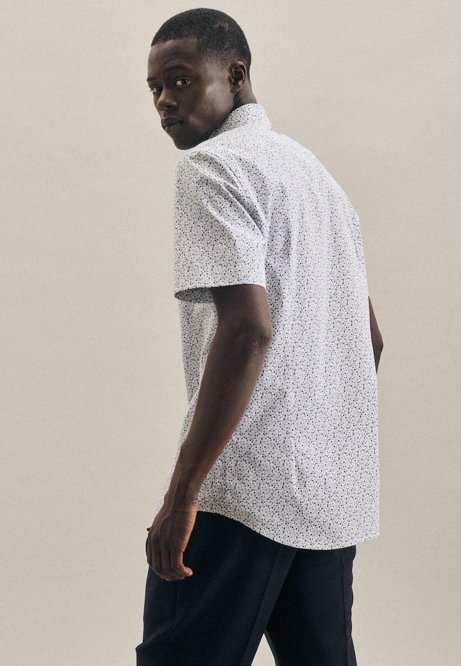 Poplin Short sleeve Business Shirt in Shaped with Kent-Collar in Dark blue |  Seidensticker Onlineshop