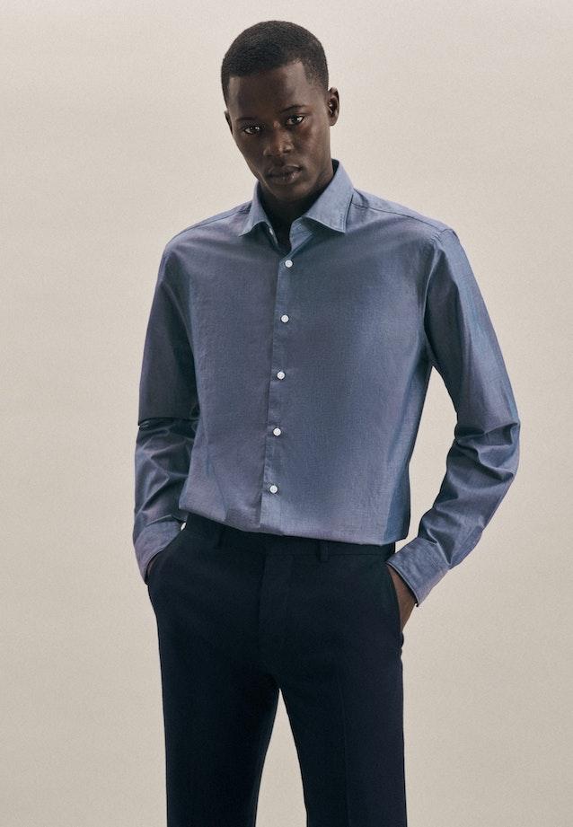 Easy-iron Chambray Business Shirt in Regular with Kent-Collar in Medium blue |  Seidensticker Onlineshop