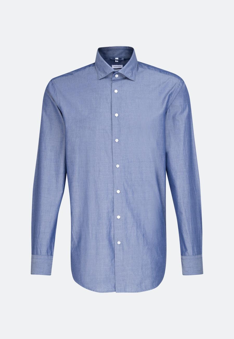 Bügelleichtes Chambray Business Hemd in Regular mit Kentkragen in Mittelblau    Seidensticker Onlineshop