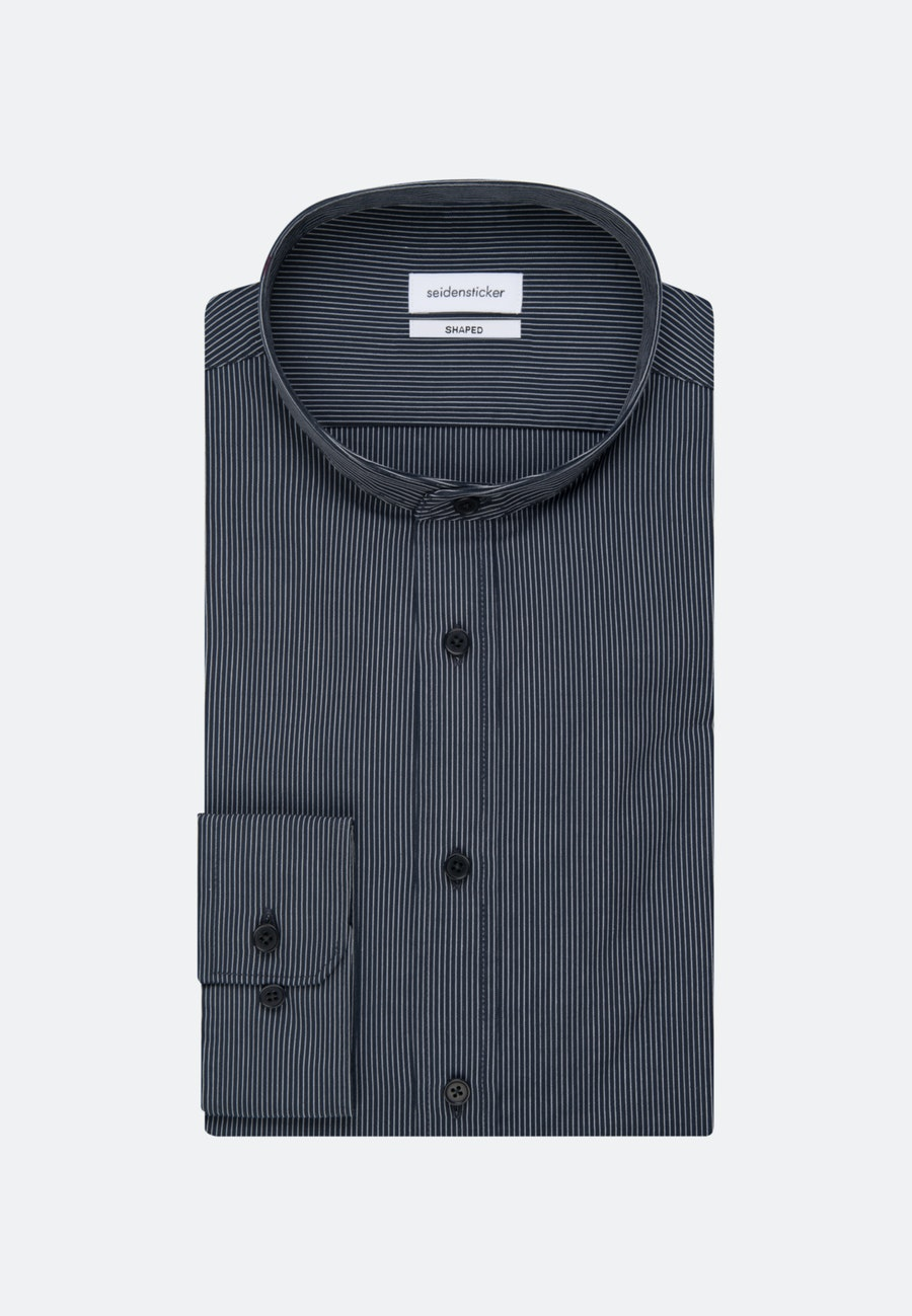 Bügelleichtes Popeline Business Hemd in Shaped mit Stehkragen in Dunkelblau |  Seidensticker Onlineshop