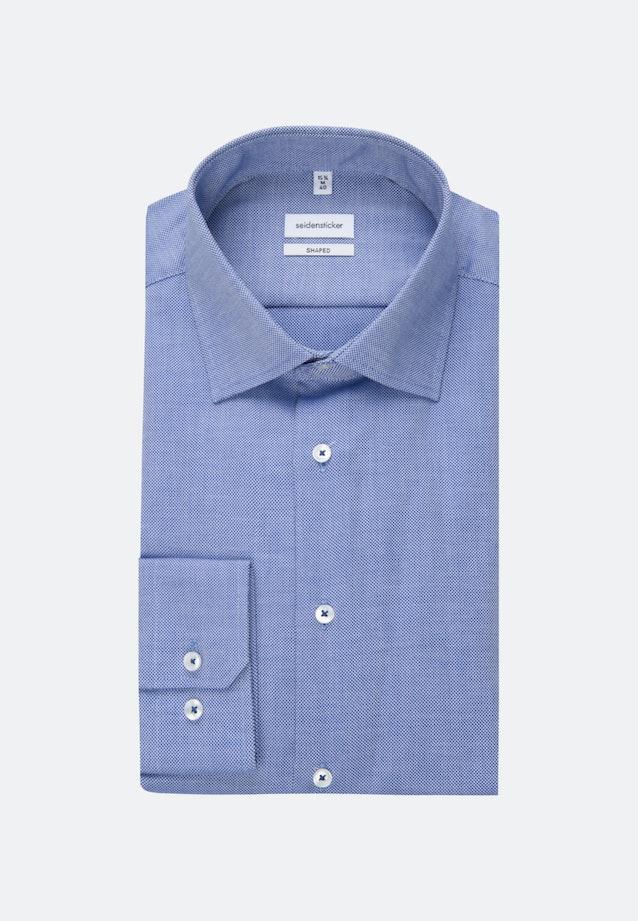 Bügelfreies Struktur Business Hemd in Shaped mit Kentkragen in Mittelblau    Seidensticker Onlineshop