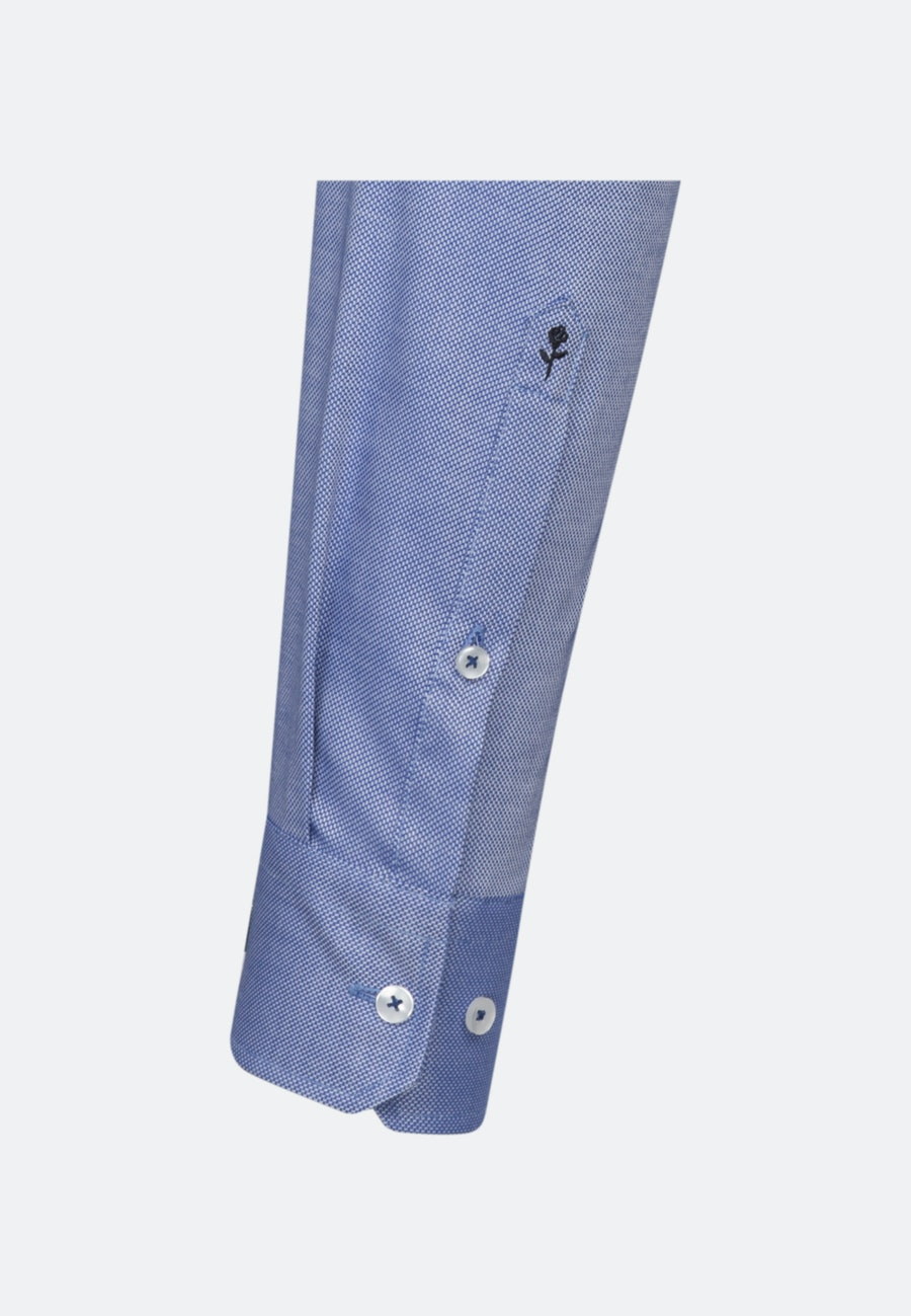 Non-iron Struktur Business Shirt in Shaped with Kent-Collar in Medium blue |  Seidensticker Onlineshop