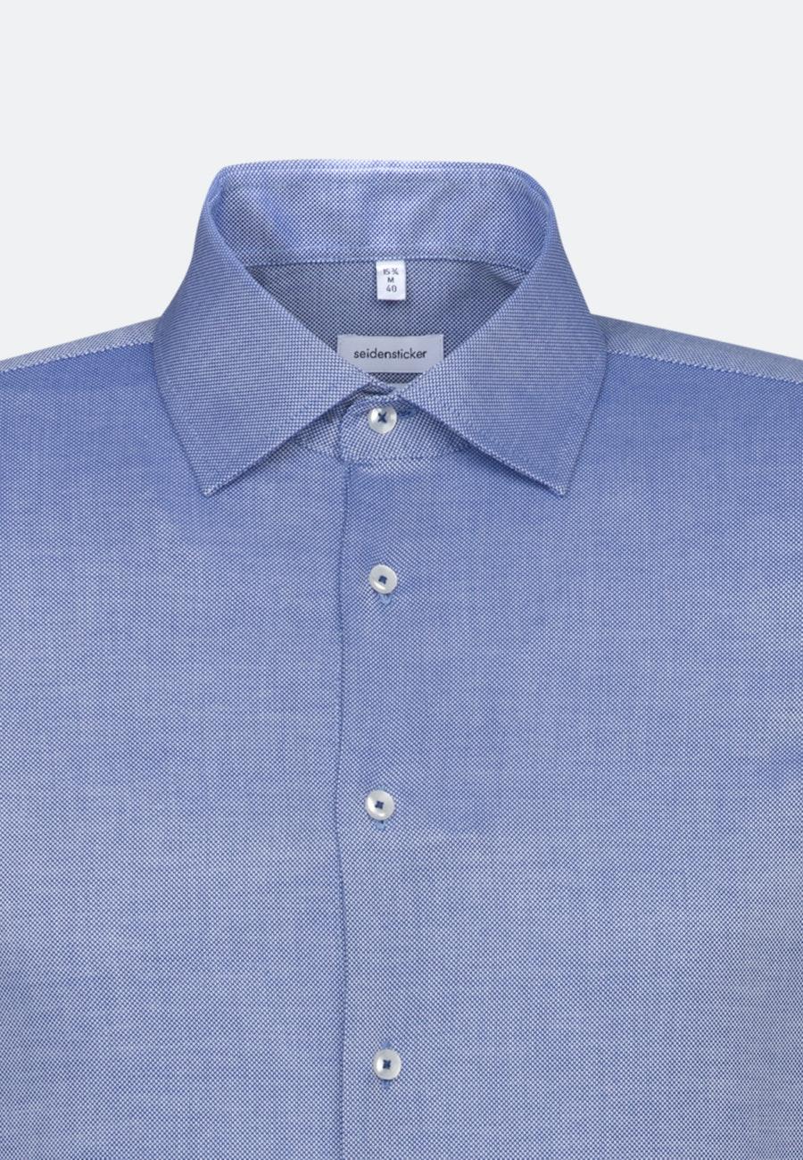 Bügelfreies Struktur Business Hemd in Shaped mit Kentkragen in Mittelblau |  Seidensticker Onlineshop