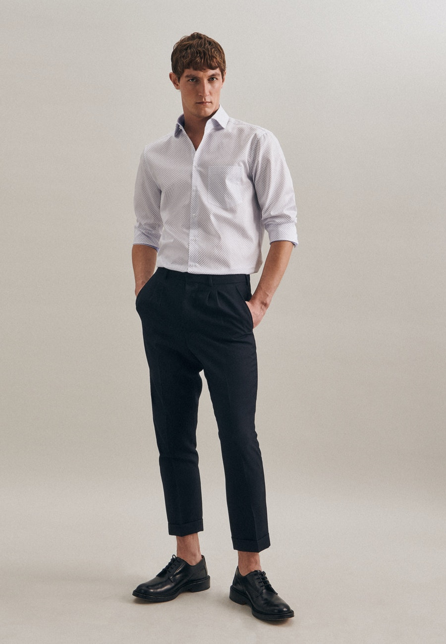 Bügelleichtes Twill Business Hemd in Regular mit Kentkragen und extra langem Arm in Weiß |  Seidensticker Onlineshop