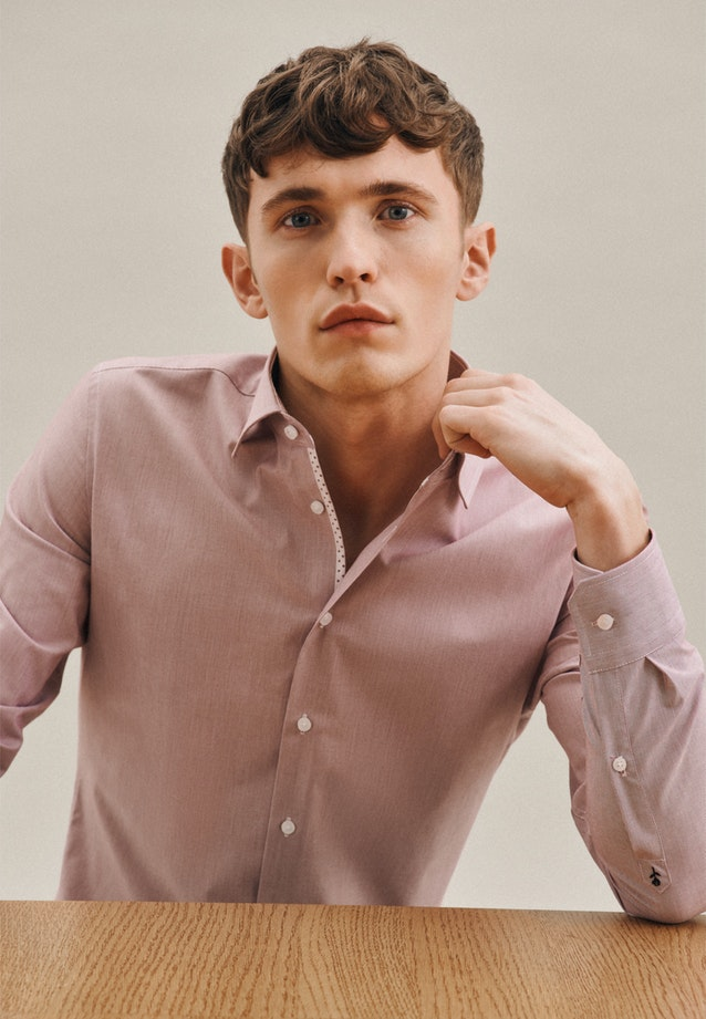 Non-iron Mille Rayé Business Shirt in Shaped with Kent-Collar in Red |  Seidensticker Onlineshop