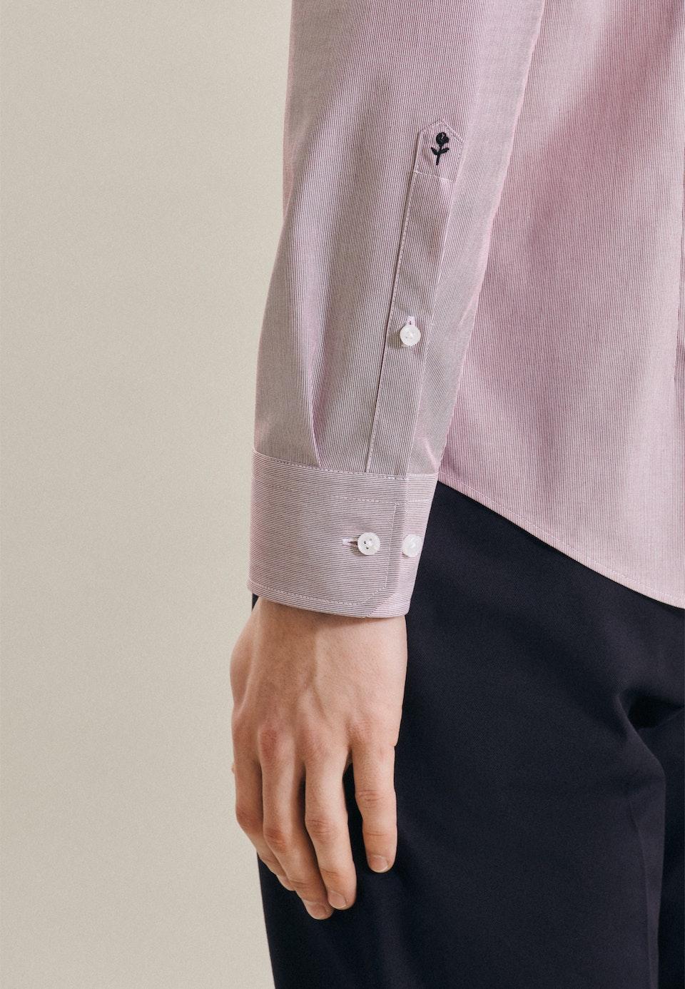 Bügelfreies Mille Rayé Business Hemd in Shaped mit Kentkragen in Rot    Seidensticker Onlineshop