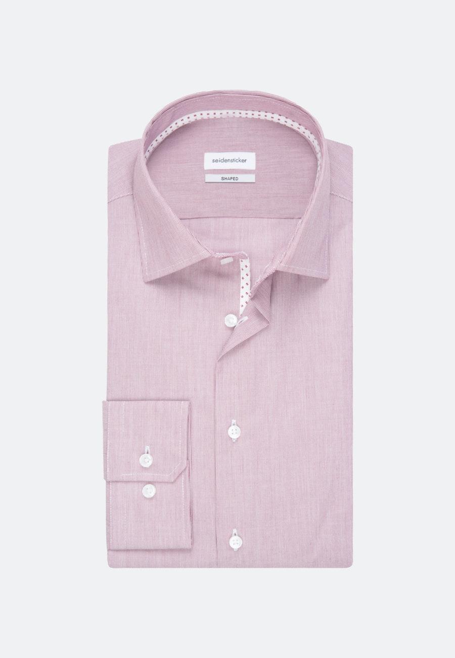 Bügelfreies Mille Rayé Business Hemd in Shaped mit Kentkragen in Rot |  Seidensticker Onlineshop