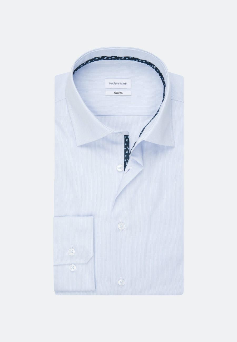 Bügelfreies Mille Rayé Business Hemd in Shaped mit Kentkragen in Hellblau    Seidensticker Onlineshop