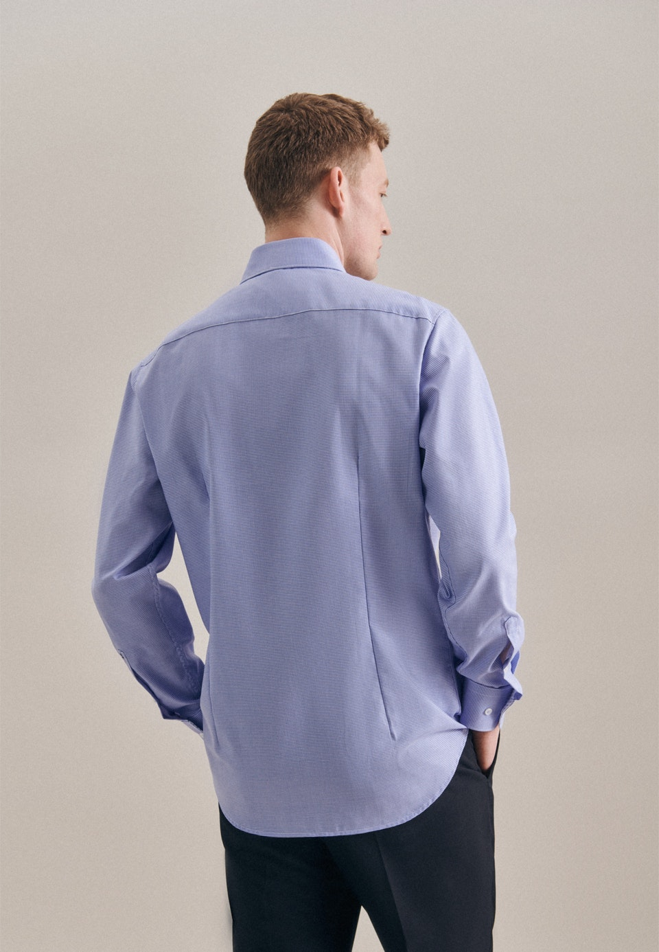 Non-iron Pepita Business Shirt in Shaped with Kent-Collar in Light blue |  Seidensticker Onlineshop