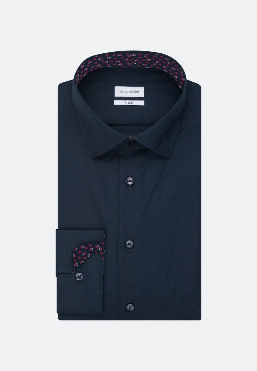Non-iron Popeline Business Shirt in X-Slim with Kent-Collar in Dark blue |  Seidensticker Onlineshop