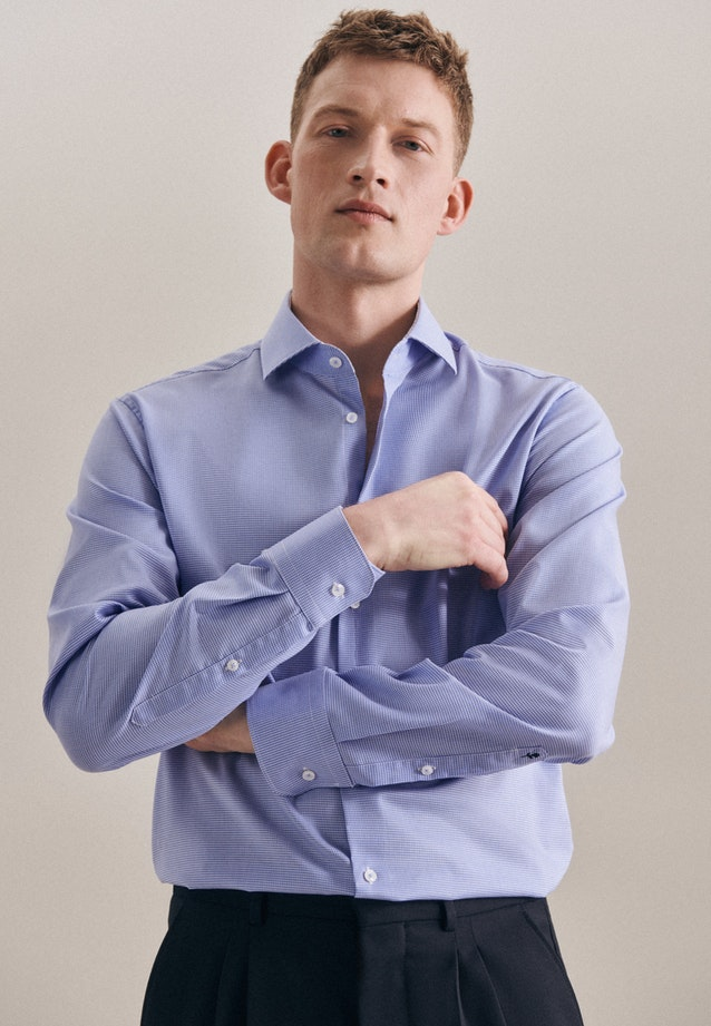 Non-iron Pepita Business Shirt in X-Slim with Kent-Collar in Light blue |  Seidensticker Onlineshop