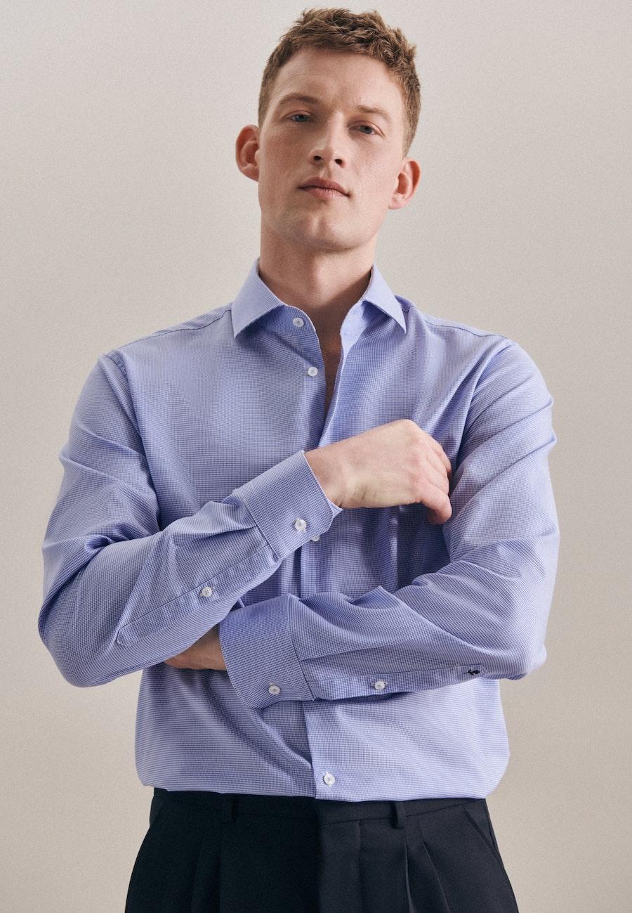 Bügelfreies Pepita Business Hemd in X-Slim mit Kentkragen in Hellblau    Seidensticker Onlineshop