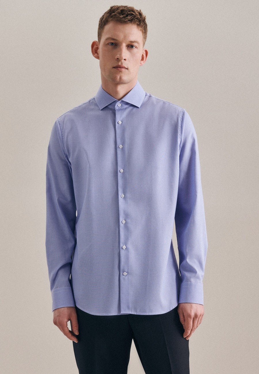 Non-iron Pepita Business Shirt in X-Slim with Kent-Collar in Light blue    Seidensticker Onlineshop