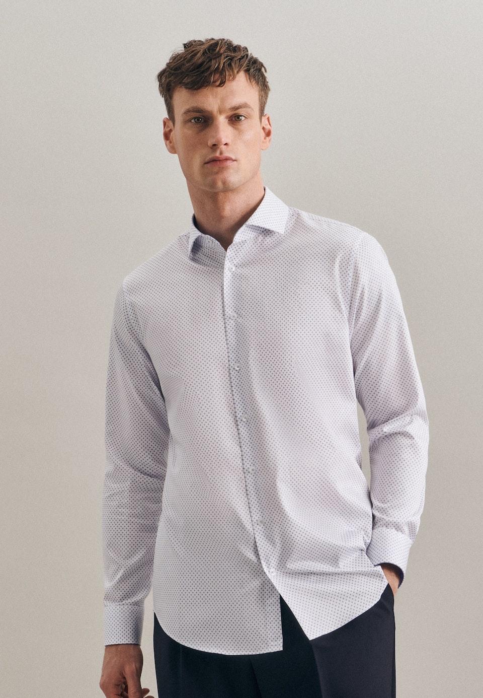 Bügelleichtes Twill Business Hemd in Slim mit Kentkragen und extra langem Arm in Weiß |  Seidensticker Onlineshop