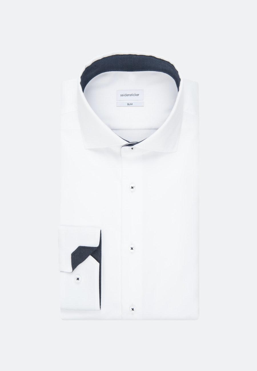 Bügelfreies Twill Business Hemd in Slim mit Kentkragen in Weiß    Seidensticker Onlineshop