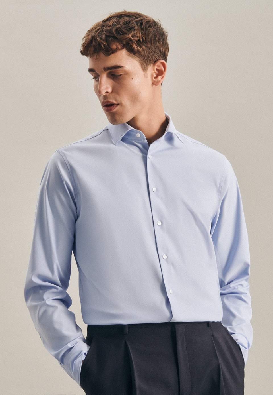 Twill Business Shirt in X-Slim with Kent-Collar in Light blue |  Seidensticker Onlineshop