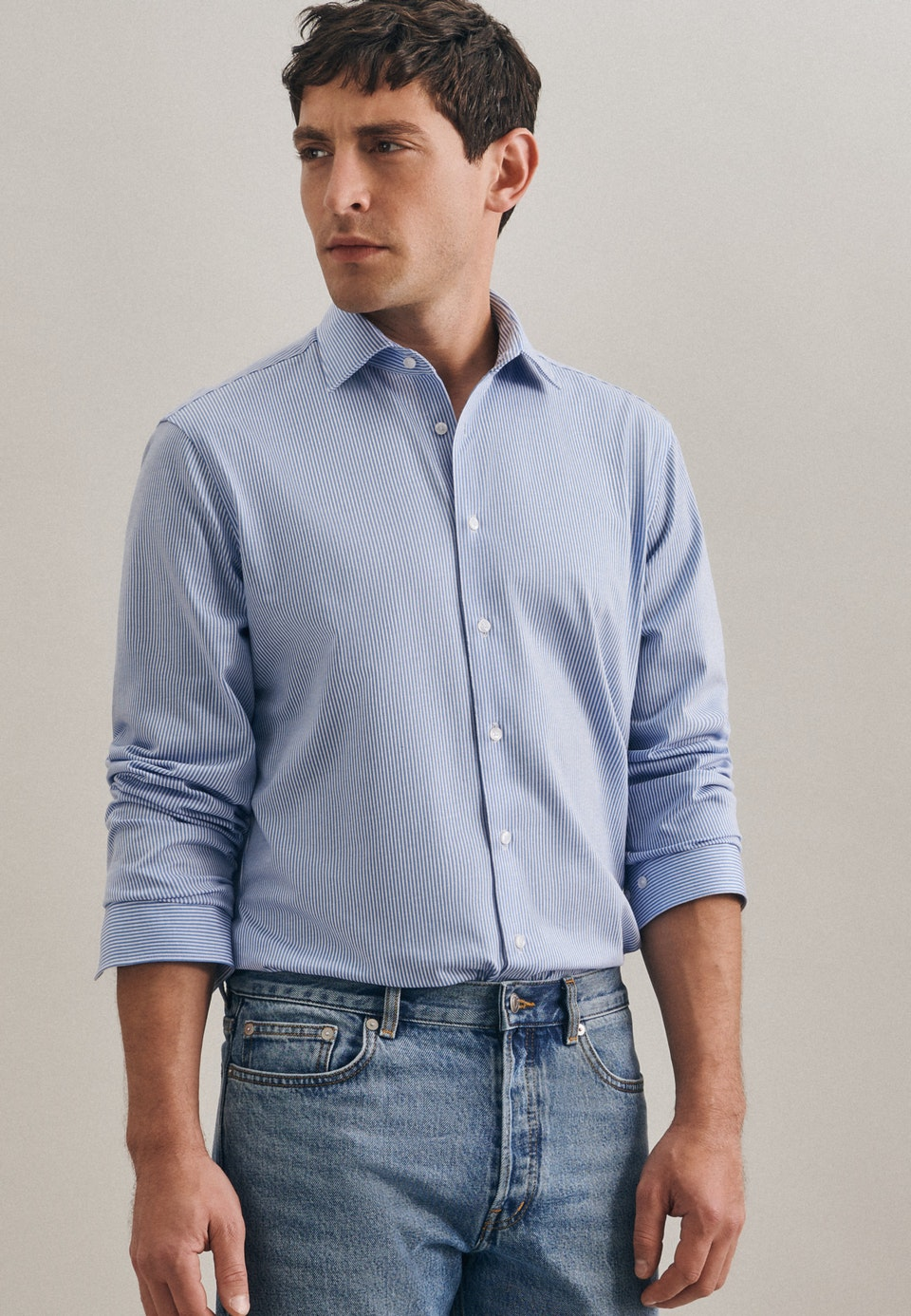 Jersey Business Shirt in Slim with Kent-Collar in Light blue |  Seidensticker Onlineshop