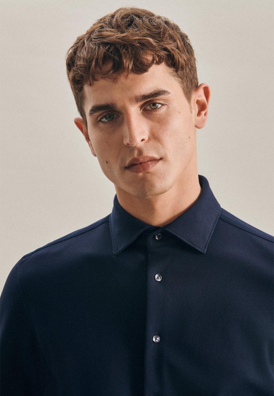 Jersey Business Shirt in Slim with Kent-Collar in Dark blue |  Seidensticker Onlineshop