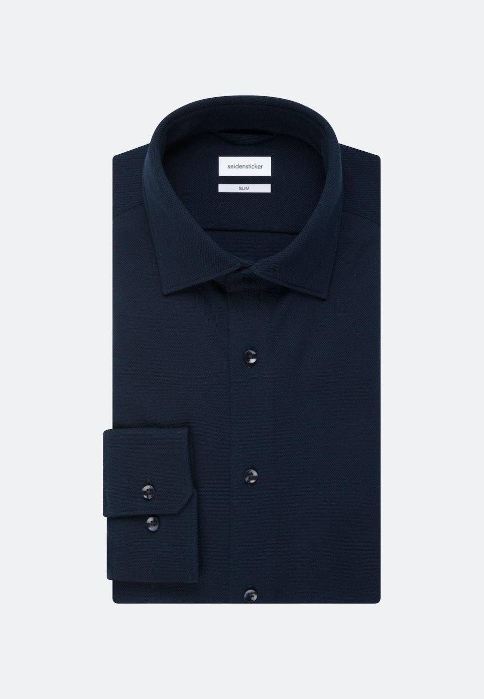 Jersey Business Hemd in Slim mit Kentkragen in Dunkelblau |  Seidensticker Onlineshop