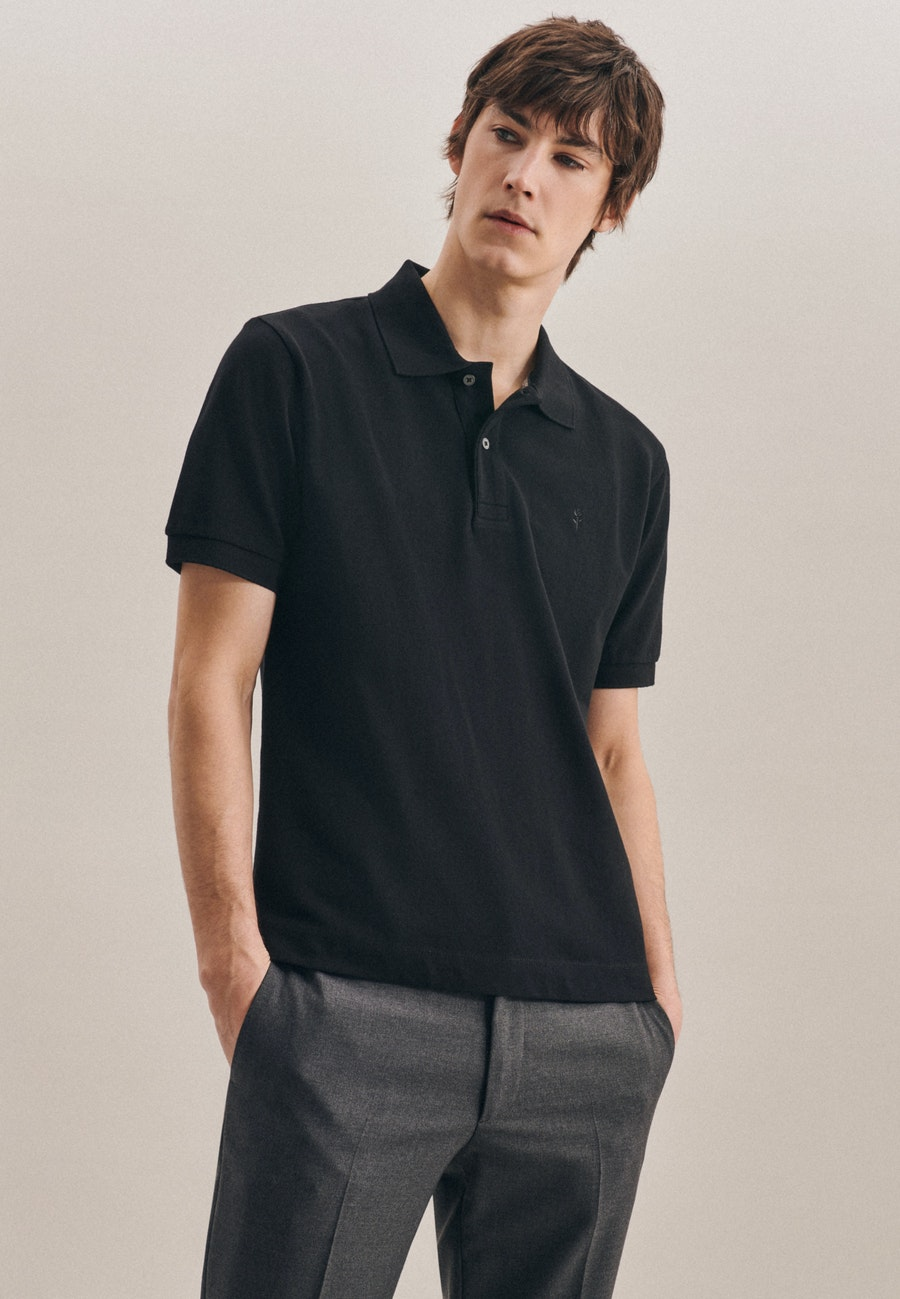 Polo-Shirt Regular aus 100% Baumwolle in Schwarz |  Seidensticker Onlineshop
