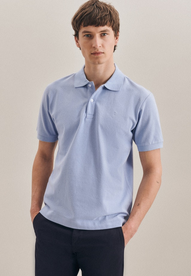 Polo-Shirt Regular aus 100% Baumwolle in Hellblau |  Seidensticker Onlineshop