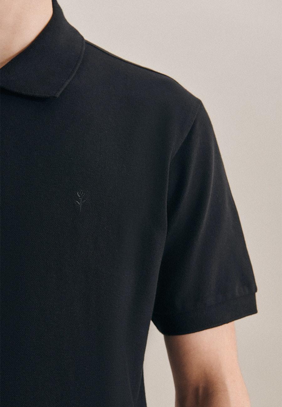 Polo-Shirt Slim aus 100% Baumwolle in Schwarz    Seidensticker Onlineshop