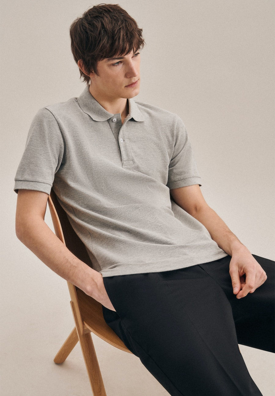 Polo-Shirt Slim aus 100% Baumwolle in Grau |  Seidensticker Onlineshop