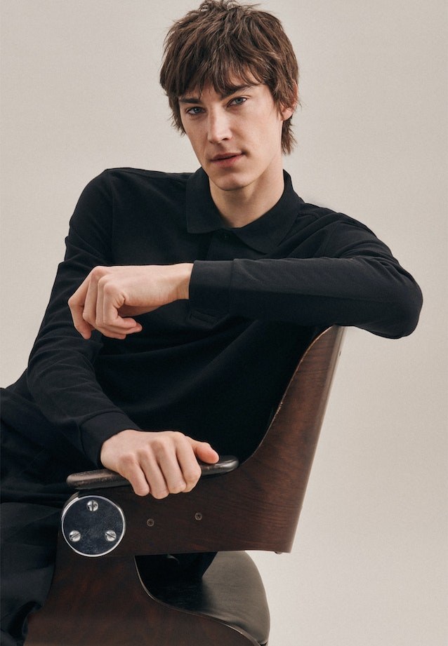 Polo-Shirt Shaped made of 100% Cotton in Black |  Seidensticker Onlineshop