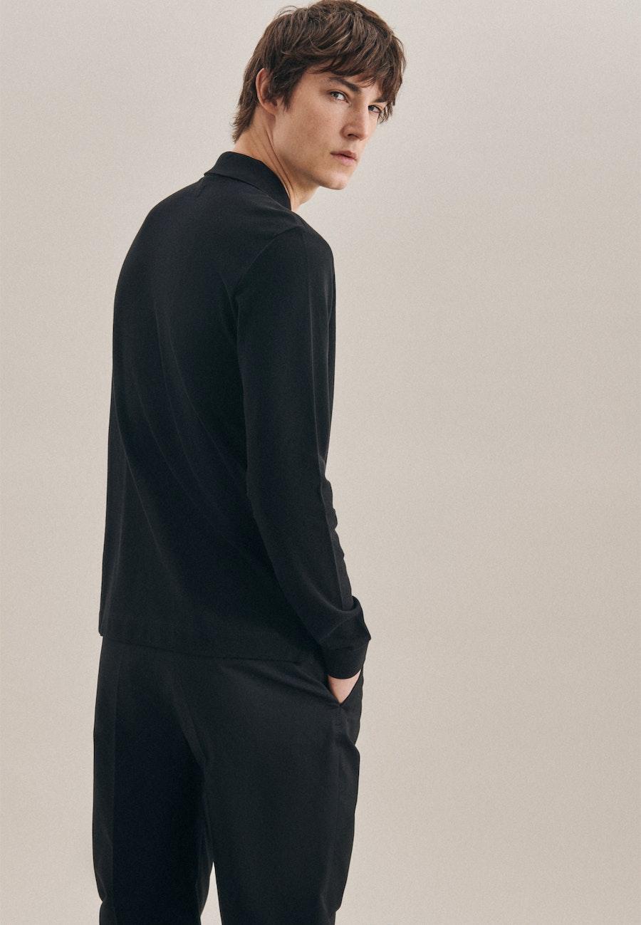 Langarm Polo-Shirt aus 100% Baumwolle in Schwarz |  Seidensticker Onlineshop