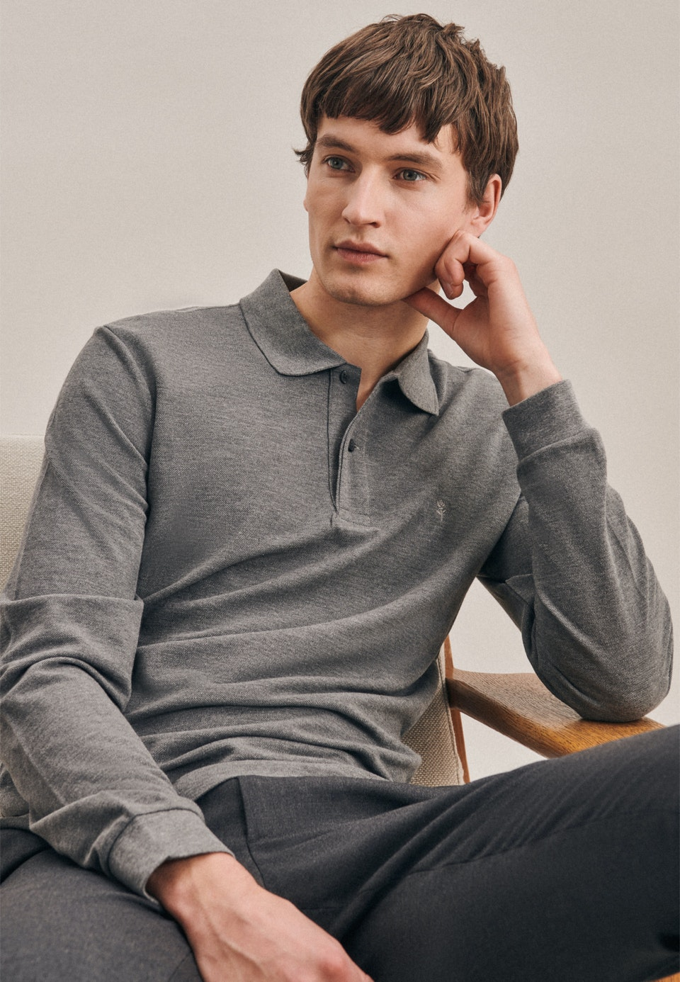 Long sleeve Polo-Shirt Shaped made of 100% Cotton in Grey |  Seidensticker Onlineshop