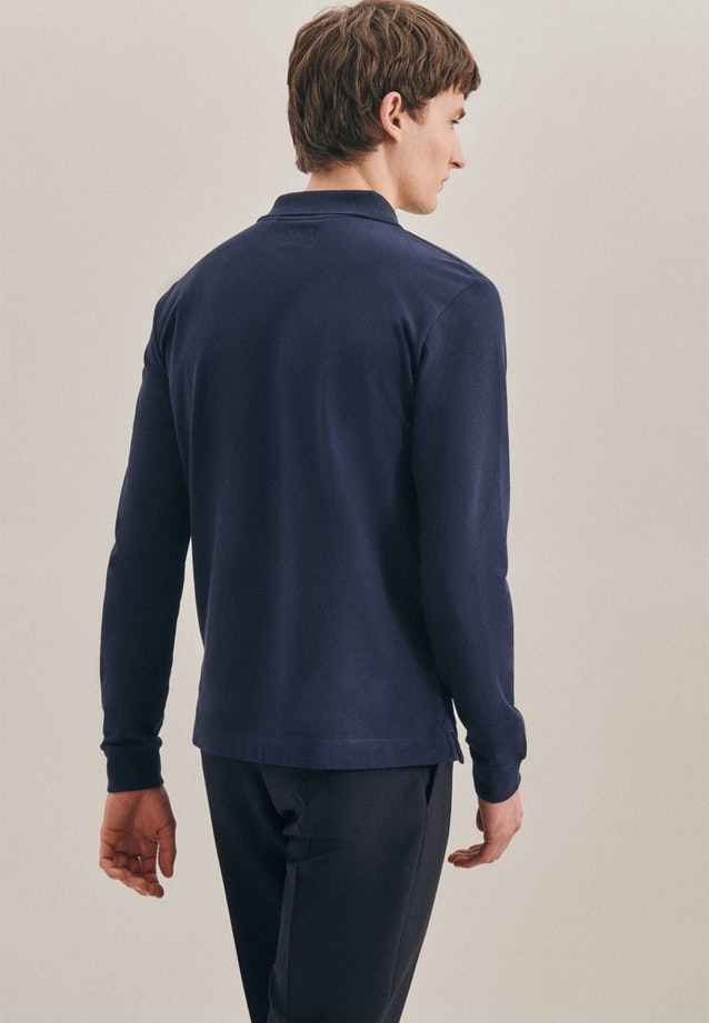 Long sleeve Polo-Shirt Shaped made of 100% Cotton in Dark blue |  Seidensticker Onlineshop