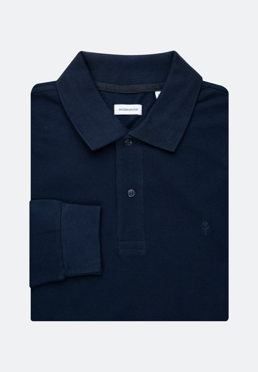 Long sleeve Polo-Shirt Shaped made of 100% Cotton in Dark blue |  Seidensticker Onlineshop